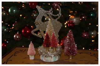 121312 Xmas Trees Glittered Deer trees